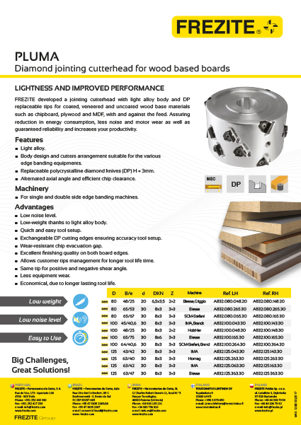 Pluma Diamond jointing cutterhead
