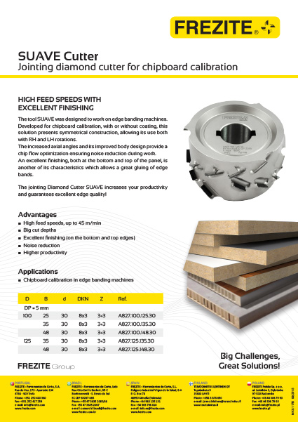 SUAVE Cutter – Jointing diamond - cutter for chipboard calibration